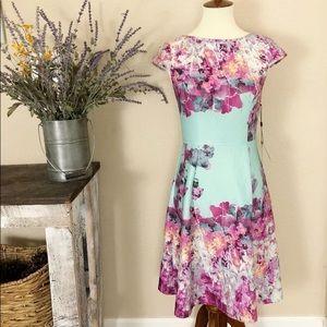 ADRIANNA PAPELL floral scuba zip dress